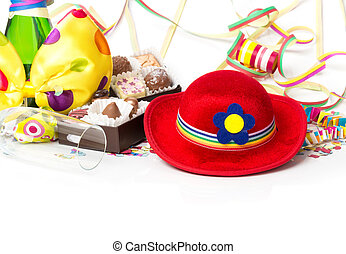 Carnival decorations, chocolates and champagne