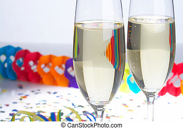 Carnival - Fasching - 2 Glasses of Sparkling Wine on...