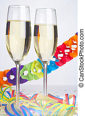 Carnival - Fasching - 2 Glasses of Sparkling Wine with...