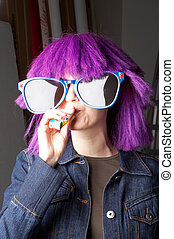 carnival - Fasching - Girl with violett wig and huge...