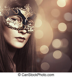 Carnival. Female portrait with beauty bokeh for your design