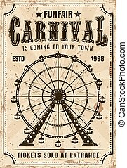 Carnival ferris wheel vector invitation poster