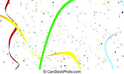 Carnival festive background. Serpanrin flying ribbons and falling triangular confetti