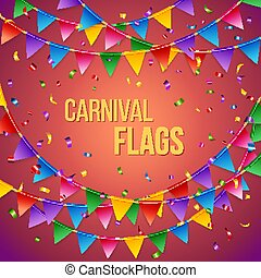 Carnival flags card stationery template in red