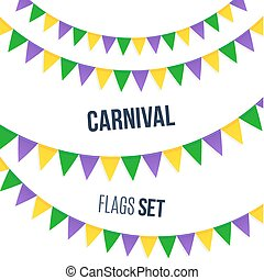 Carnival flags set isolated on white background