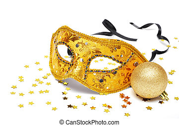 carnival golden mask with confetti on white background