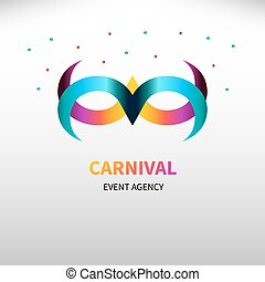 Carnival gradient mask with confetti isolated. Logo event agency. Icon card for masquerade. Vector illustration.