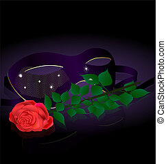 carnival half-mask and rose
