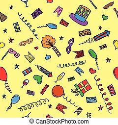 Carnival hand drawn seamless pattern