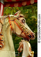 Carnival Horse - Grungy Horses On An Ancient Merry-Go-Round...