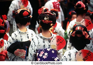 Carnival in Japan involving the characters in the national costumes