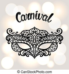 Carnival invitation card with black lace mask. Celebration...