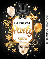 Carnival invitation card with gold masks and decorations. ...