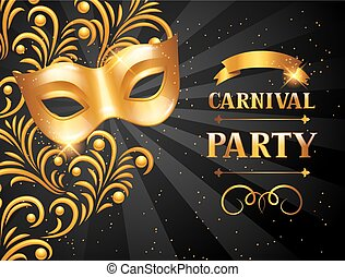 Carnival invitation card with golden mask. Celebration party background