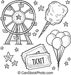 Carnival items sketch - Doodle style amusement park or...