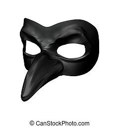 Carnival Mask - 3D digital render of an evil black carnival...