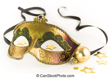 Carnival mask and Christmas decorations on white background...