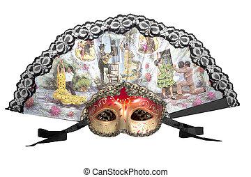 Carnival mask and fan