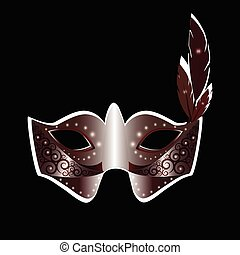 Carnival mask and feather vector illustration