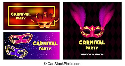 Carnival mask banner concept set, realistic style