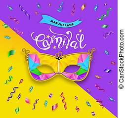 Carnival Mask banner on violet yellow background. Happy carnival festive concept. Vector illustration . Mardi gras. Serpentine with shadow around Carnival Mask. Serpentine in circle