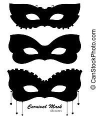 Carnival mask black silhouettes