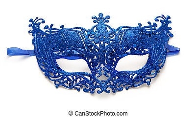 Carnival mask - Blue lacy carnival mask on white background