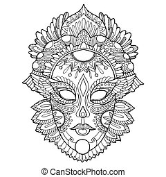 Carnival mask coloring vector illustration