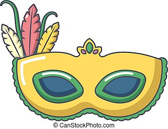 Carnival mask icon, cartoon style