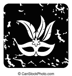 Carnival mask icon, grunge style