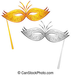 Carnival Mask - illustration of pair of gold and silver...