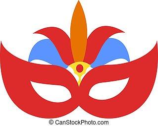 Carnival mask, illustration, vector on white background.