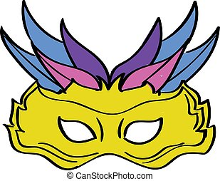 Carnival mask, illustration, vector on white background.