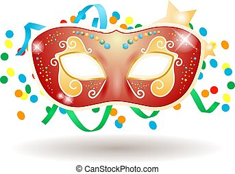 Carnival mask isolated on white background, vector illustration