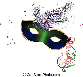 New Year carnival party mask and confetti