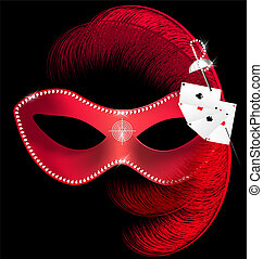 carnival mask of hazard - on a black background is a red...