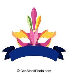 carnival mask ribbon on white background