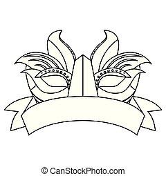 carnival mask ribbon on white background