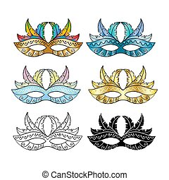 Carnival mask set on white background.