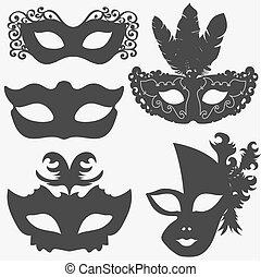 carnival mask set, theatrical or masquerade masks...
