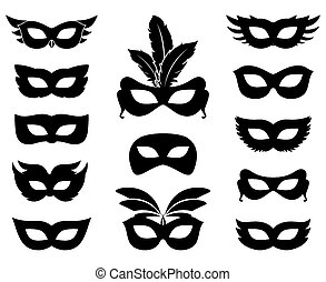 Carnival mask silhouettes - Set of carnival mask silhouettes...