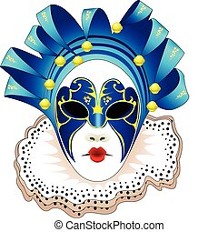 Carnival woman blue Mask Vector illustration