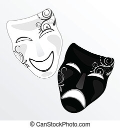 carnival mask - vector illustration of a black and a white ...