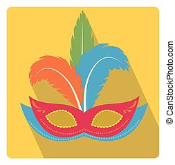 Carnival mask with feathers icon flat style with long shadows, isolated on white background. Vector illustration.