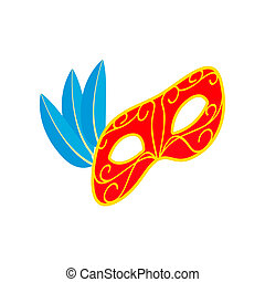 Carnival mask with feathers icon, isometric 3d