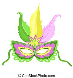 Carnival mask with feathers isolated on a white background. Vector graphics.