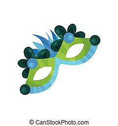 Carnival mask with feathers, masquerade mask vector Illustration
