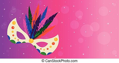 Carnival mask with feathers on pink background.