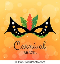 Carnival mask with feathers on yellow background