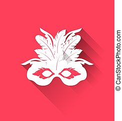 Carnival mask with feathers with shadows, trendy flat style